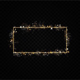 Złota ramka z efektami świetlnymi. błyszczący prostokątny baner. pojedynczo na czarnym przezroczystym tle. ,