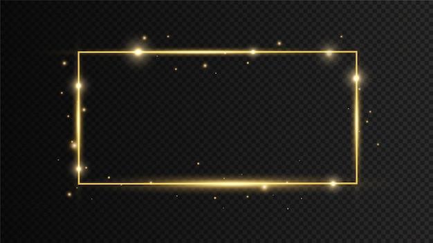 Złota ramka z efektami świetlnymi na czarnym przezroczystym tle