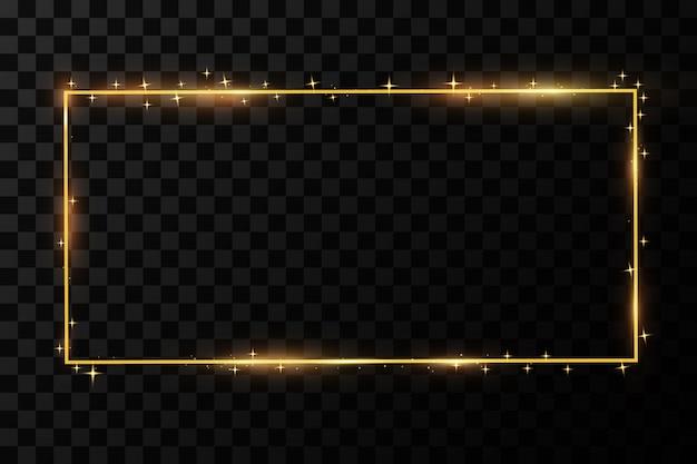 Złota ramka z efektami świetlnymi.