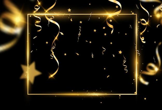 Złota ramka z konfetti.