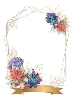 Złota ramka z kwiatami sukulenty
