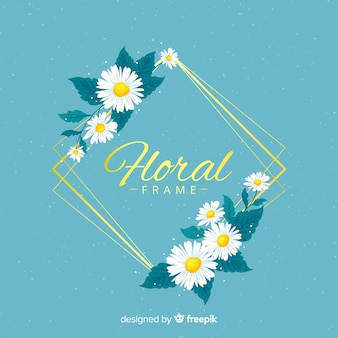 Złota ramka z kwiatami