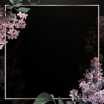 Złota ramka z liliową obwódką na czarnym tle