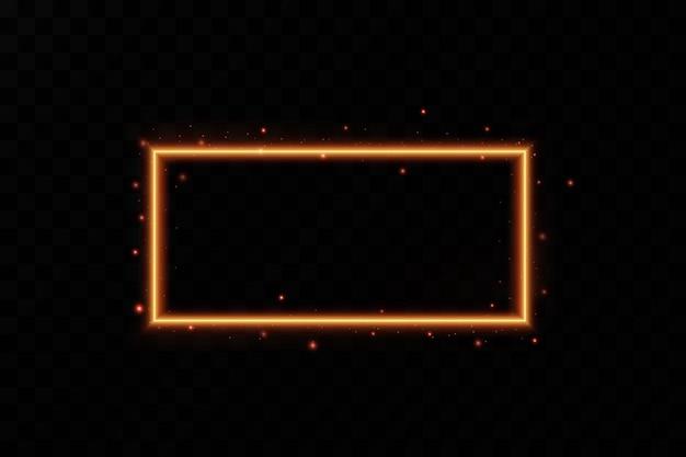 Złota ramka z ognistymi iskrami złota ramka z efektami świetlnymi błyszczący baner