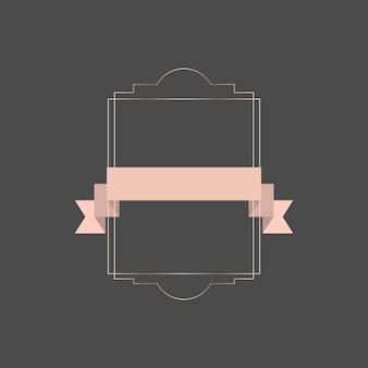 Złota ramka z różową wstążką