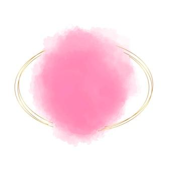 Złota ramka z różowym akwarelowym kształtem