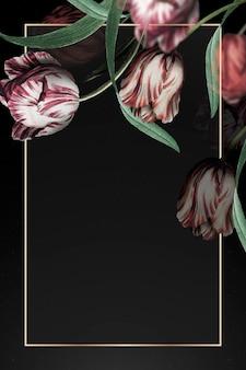 Złota ramka z tulipanową obwódką na czarnym tle