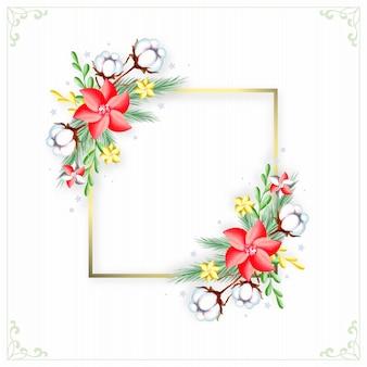 Złota ramka z zimowych kwiatów