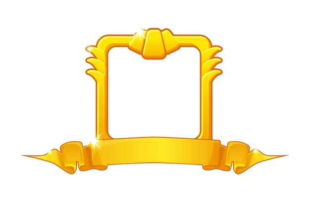 Złota ramka ze wstążką nagrody, kwadratowy szablon