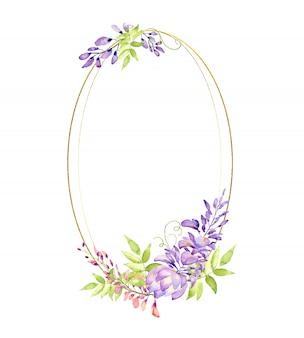 Złota ramka złota z kwiatami i liśćmi