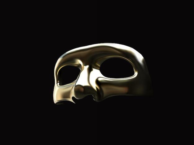 Złota realistyczna maska na białym tle na czarnym tle