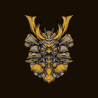 Złota robota oni opancerzony samuraj ilustracji wektorowych na koszulkę lub produkt do druku
