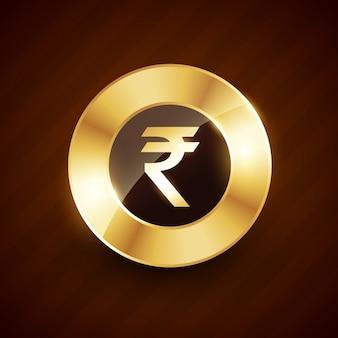 Złota rupia z błyszczącymi efektami