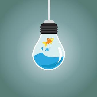 Złota ryba skacze w wodzie żarówki