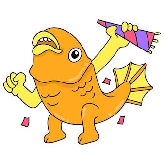 Złota rybka radośnie świętuje przyjęcie urodzinowe, ilustracja wektorowa sztuki. doodle ikona obrazu kawaii.