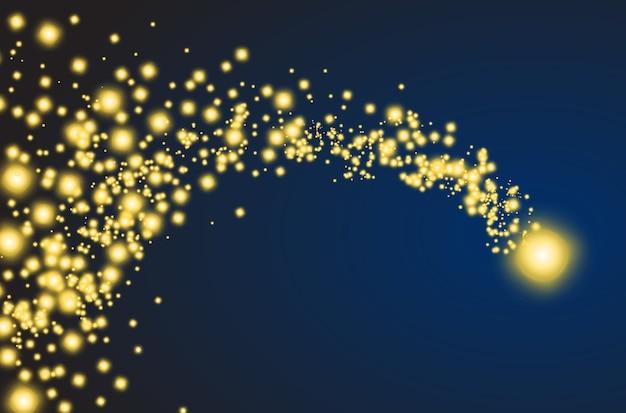 Złota spadająca gwiazda z błyszczącym ogonem. wektor kometa, meteoryt lub asteroida