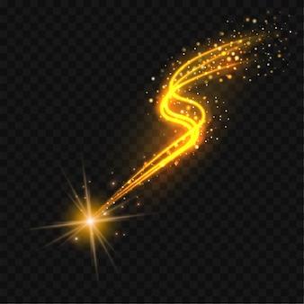 Złota spadająca gwiazda z błyszczącym szlakiem. streszczenie złote linie na czarnym tle.