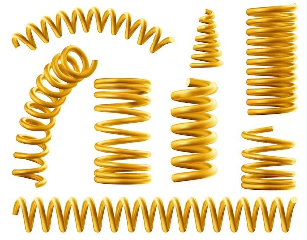 Złota spirala metalowa elastyczna zestaw na białym tle.