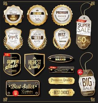 Złota sprzedaż etykiet kolekcja retro vintage design