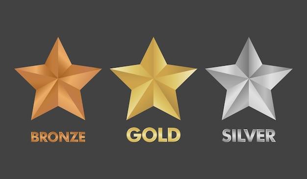 Złota, srebrna i brązowa gwiazda zestaw ilustracji wektorowych.