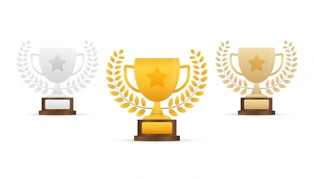 Złota, srebrna i brązowa trofeum pucharu płaski ikona z wieńcem gwiazdy i laurowym