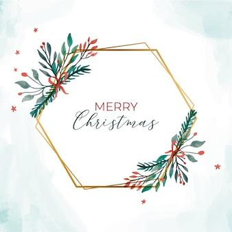 Złota świąteczna ramka z eleganckimi liśćmi