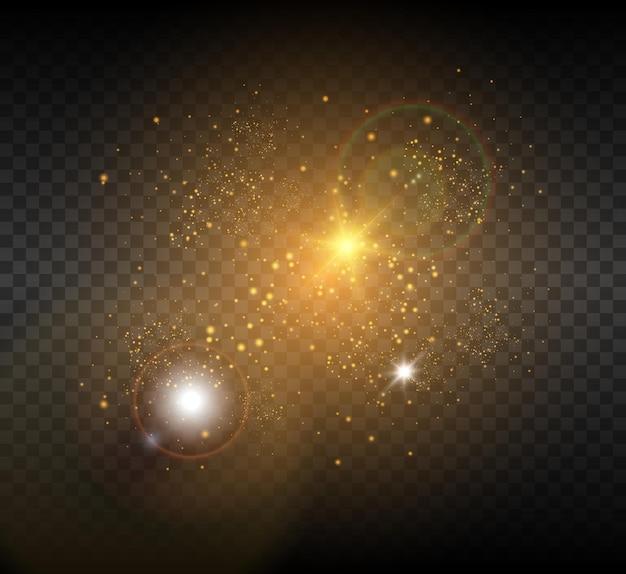 Złota świecąca gwiazda. jasny efekt świetlny gwiazdy