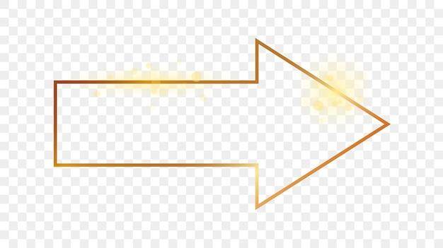 Złota świecąca rama kształt strzałki na przezroczystym tle. błyszcząca ramka ze świecącymi efektami. ilustracja wektorowa.