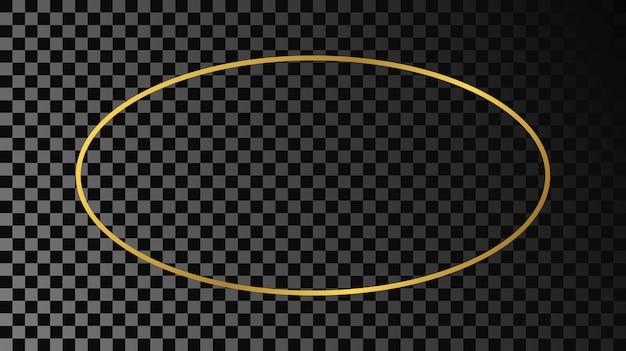 Złota świecąca rama owalny kształt na białym tle na ciemnym przezroczystym tle. błyszcząca ramka ze świecącymi efektami. ilustracja wektorowa.