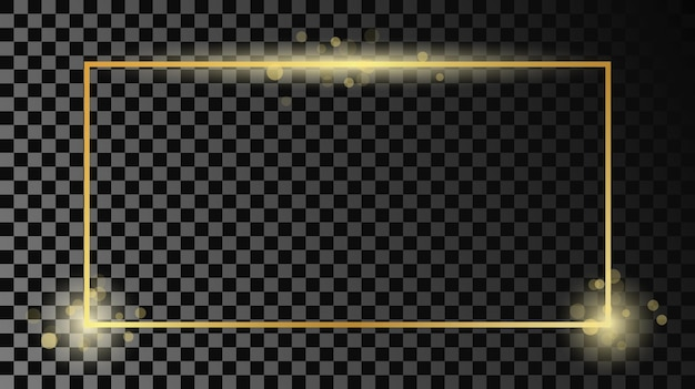 Złota świecąca rama prostokątna na białym tle na ciemnym przezroczystym tle. błyszcząca ramka ze świecącymi efektami. ilustracja wektorowa.