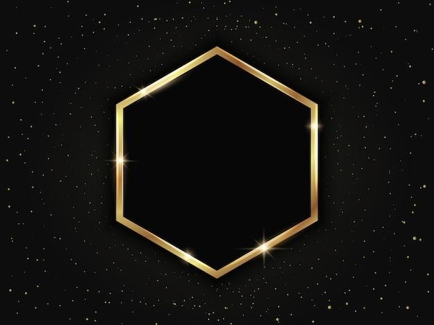 Złota sześciokątna ramka. luksusowy szablon geometryczny na ciemnym tle