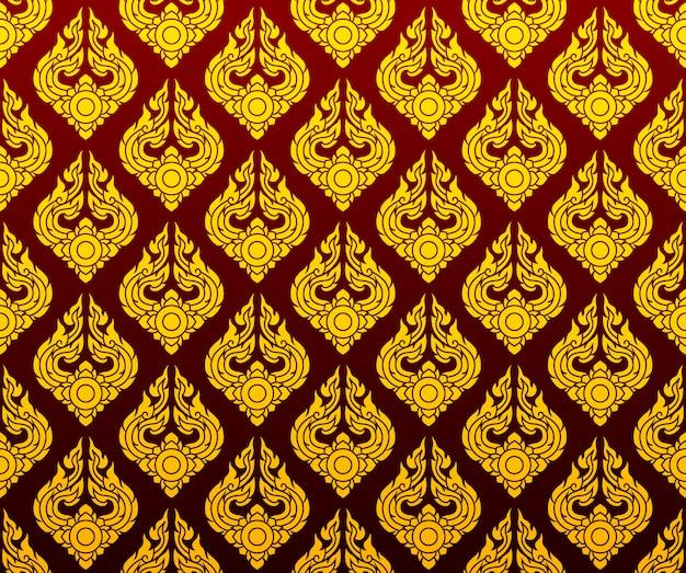 Złota tajlandzka deseniowa bezszwowa sztuka na zmroku - czerwony tło