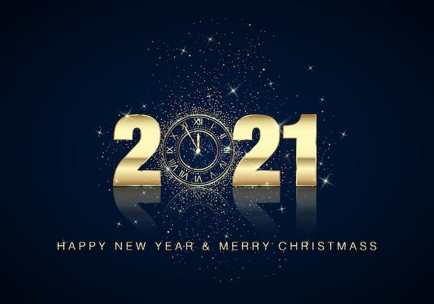 Złota tarcza zegara z numerami na magicznym tle bożego narodzenia. odliczanie do nowego roku