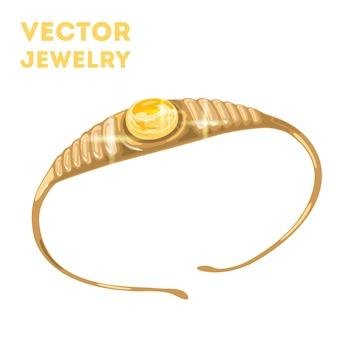 Złota tiara diadem lub korona z okrągłym żółtym szafirem pośrodku elegancka bransoletka
