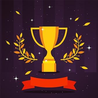 Złota trofeum nagrody ilustracja. zwycięzca konkursu sportowego, puchar z trofeum mistrzowskim symbol zwycięstwa złoty kielich, gałązka oliwna. ceremonia wręczenia nagród zwycięzcy konkursu
