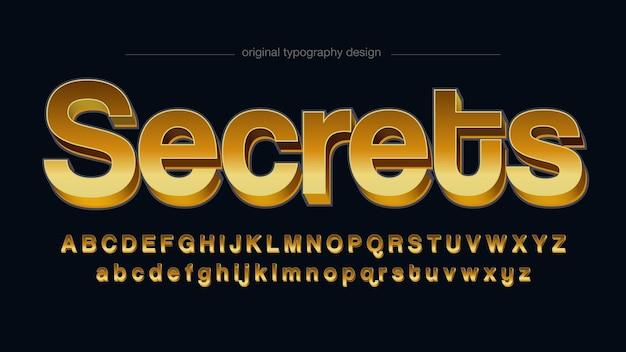 Złota typografia bezszeryfowa 3d