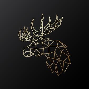 Złota wielokątna ilustracja łosia na białym tle na czarnym tle