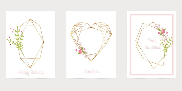 Złota wielokątna ramka z kwiatami, geometryczne, diamentowe kształty. minimalny szablon karty zaproszenie