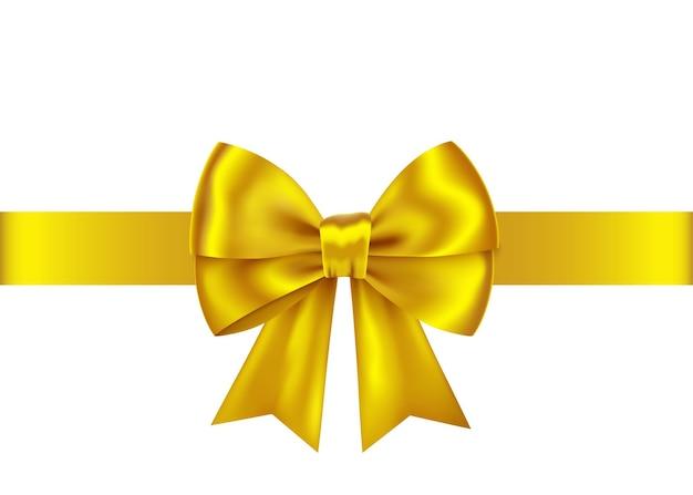 Złota wstążka prezent i łuk na białym tle