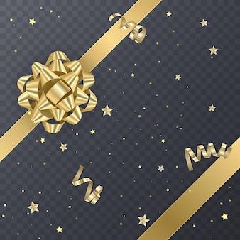 Złota wstążka prezentowa z realistyczną kokardką. element prezent dla projektu karty. tło wakacje,
