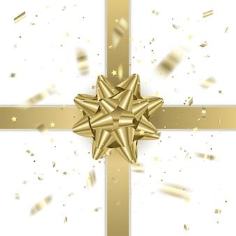 Złota wstążka prezentowa z realistyczną kokardką. ilustracja elementu prezentu