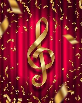 Złota wstążka w kształcie klucza wiolinowego i złote konfetti foliowe na tle czerwonej kurtyny - ilustracja.
