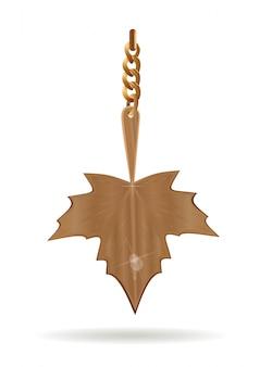 Złota zawieszka w formie liścia klonu.