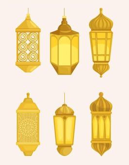 Złote arabskie lampiony