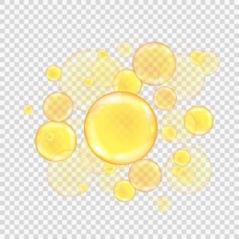 Złote bąbelki oleju na przezroczystym tle. realistyczne złote kulki kolagenowe.