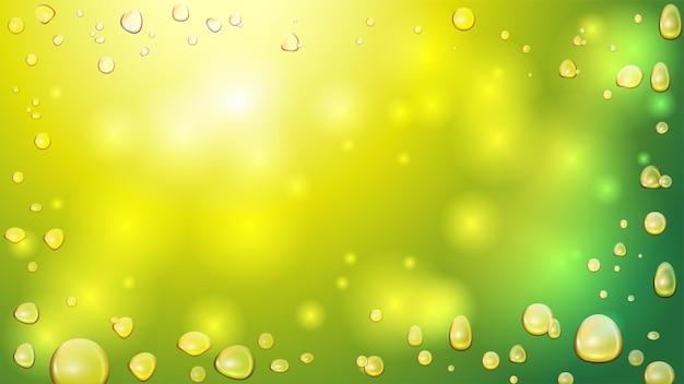 Złote bąbelki oleju z konopi indyjskich na zielono niewyraźne