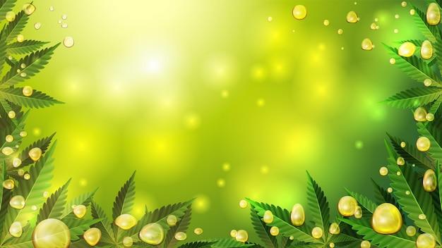 Złote bąbelki oleju z konopi indyjskich na zielonym tle niewyraźne z liśćmi konopi. pusty szablon z kroplami oleju, liśćmi konopi, przestrzenią do kopiowania i efektem lampy lawowej