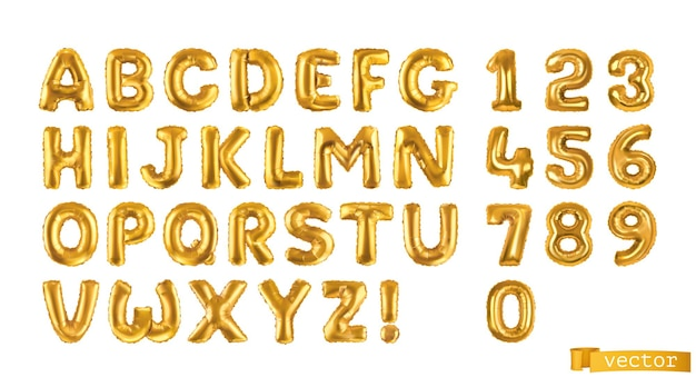 Złote balony, litery alfabetu i cyfry zestaw 3d