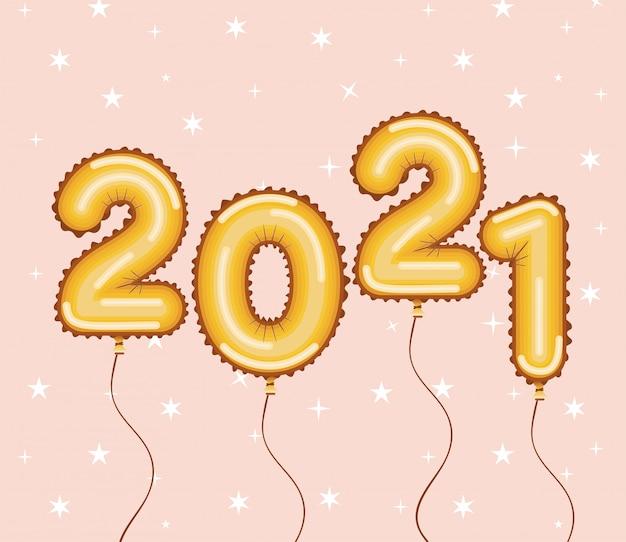 Złote balony szczęśliwego nowego roku