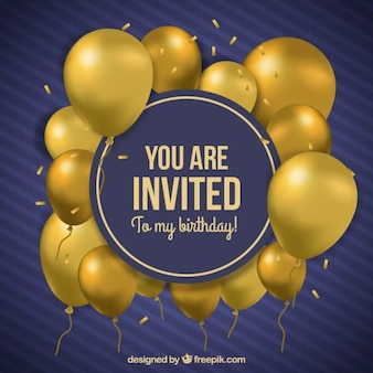 Złote balony urodziny zaproszenie